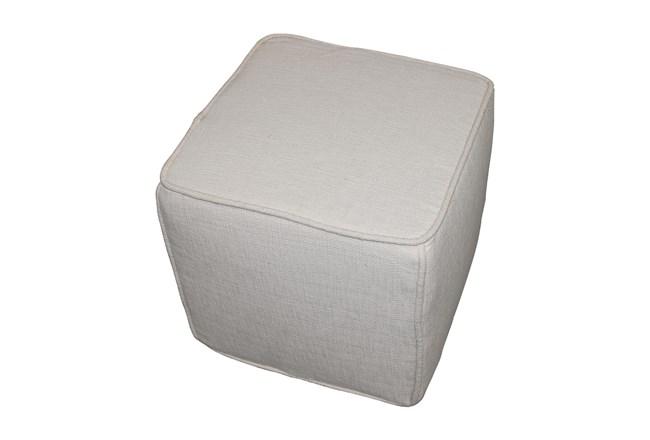 Beige Square Pouf  - 360