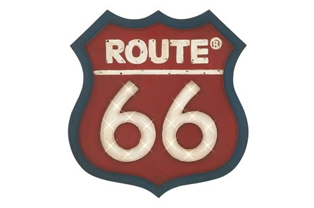 Red Route 66 Wall Plaq