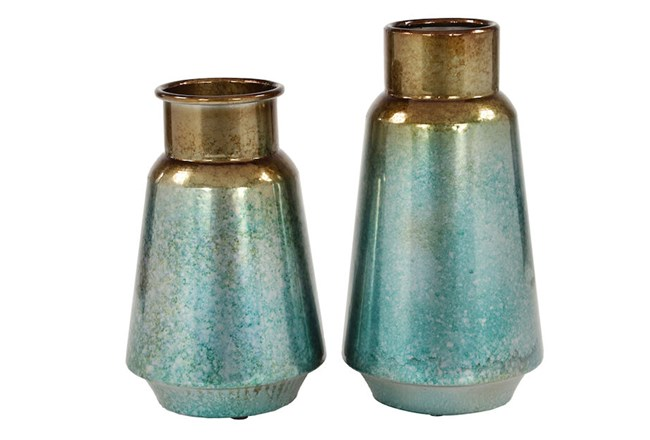 Gold Ombre Vase Set Of 2           - 360