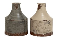 12 Inch Assorted Colors Distressed Vase