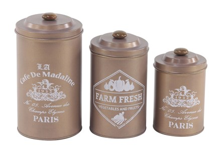 Set Of 3 Tin Canisters
