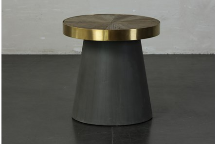 Black + Brass Cone Accent Table