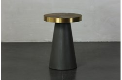 Black + Brass Cone Tall Accent Table