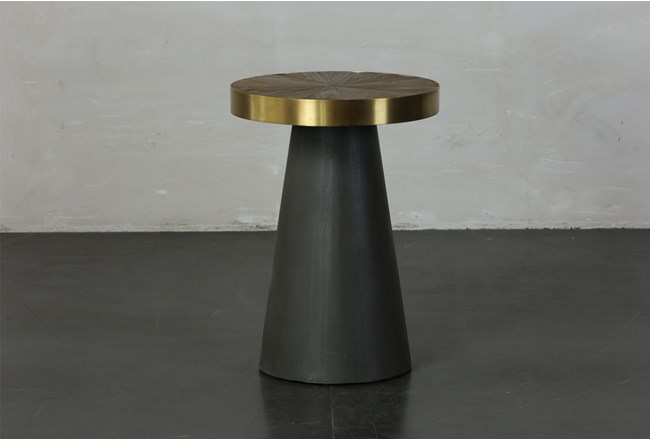 Black + Brass Cone Tall Accent Table  - 360