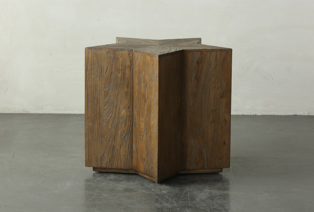 27 Inch Elm Star Shape Accent Table