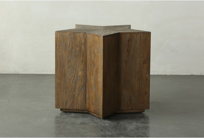 27 Inch Elm Star Shape Accent Table  - 360