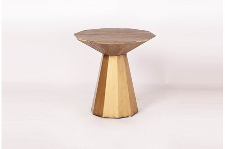 Weathered Elm + Antique Gold Accent Table