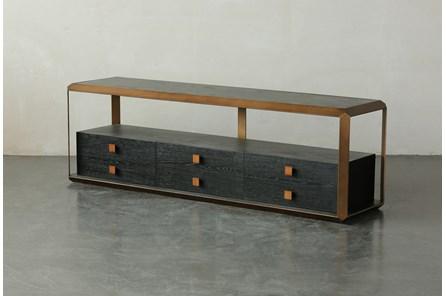 Black Oak + Bronze Three Drawer Media Stand - Main