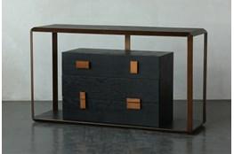 Black Oak + Bronze Four Drawer Sofa Table