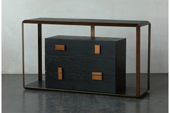 Black Oak + Bronze Four Drawer Sofa Table