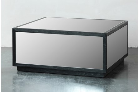 Black Mirrored Square Coffee Table