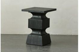 Black Oak Geometric Accent Table