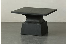 Black Oak Geometric Square Coffee Table