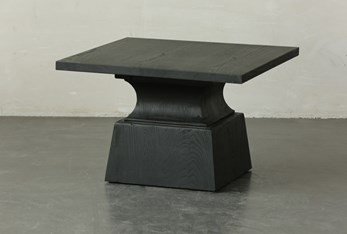 Black Oak Geometric Square Coffee Table