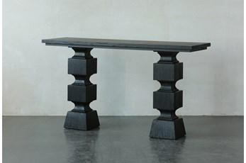 Black Oak Geometric Console Table