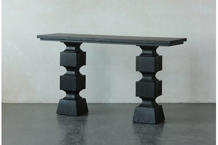 Black Oak Geometric Console Table