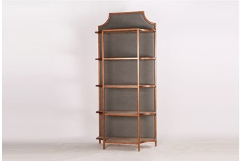 "Grey Upholstered Back Panel Tall 87"" Bookcase"