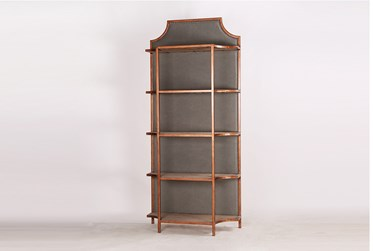 """Grey Upholstered Back Panel Tall 87"""" Bookcase"""