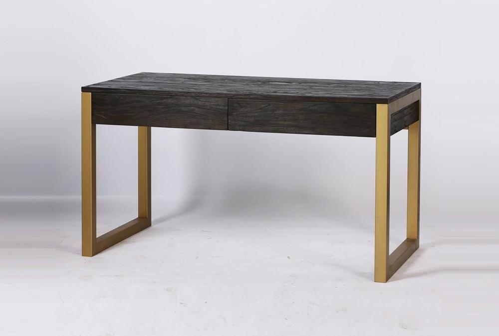 Dark Brown + Brass Desk With 2 Drawers