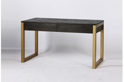 Dark Brown + Brass Desk With 2 Drawers