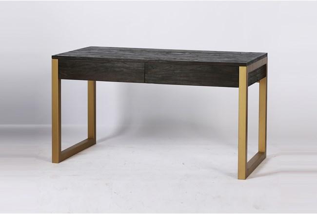Dark Brown + Brass Desk With 2 Drawers - 360