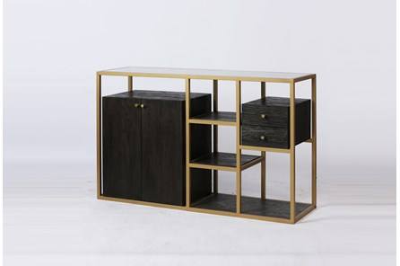 Dark Brown Wood + Brass Geometric Sideboard