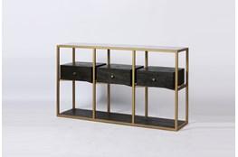 Dark Brown Wood + Brass Geometric Sofa Table