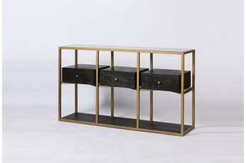 "Dark Brown Wood + Brass Geometric 63"" Sofa Table"