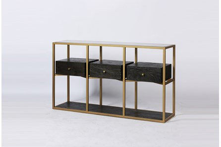 Dark Brown Wood + Brass Geometric Sofa Table