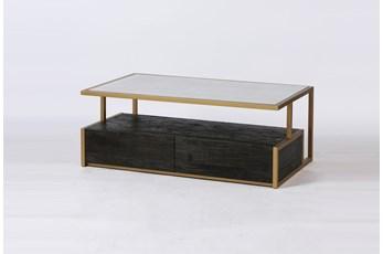 Dark Brown Wood + Brass Geometric Coffee Table