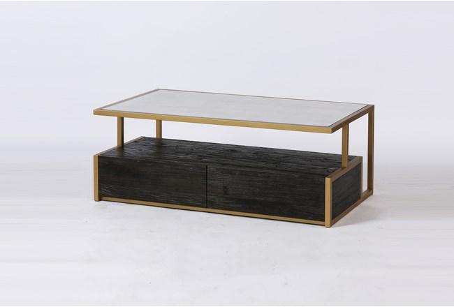 Dark Brown Wood + Brass Geometric Coffee Table   - 360