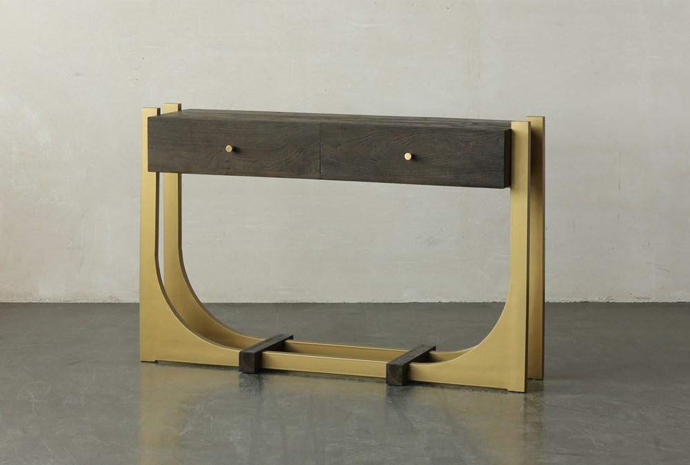 Dark Brown + Gold 2 Drawer Sofa Table