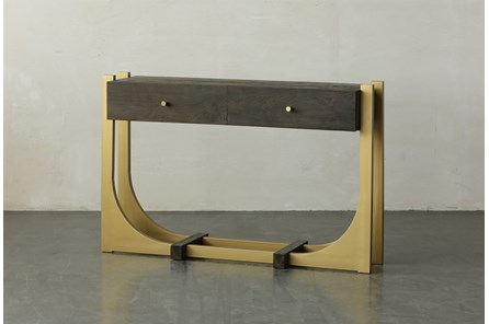 Dark Brown + Gold 2 Drawer Sofa Table