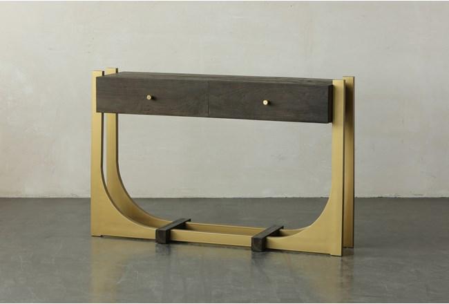 Dark Brown + Gold 2 Drawer Sofa Table - 360