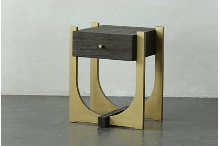 Dark Brown + Gold 1 Drawer Accent Table