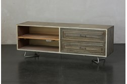 Weathered + Antique White 2 Drawer Open Shelf TV Stand