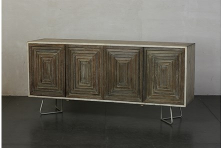 Weathered + Antique White 4 Door Pyramid Sideboard