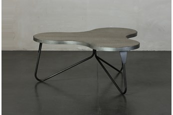Pine + Metal Irregular Shape Coffee Table