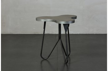 Pine + Metal Irregular Shape Accent Table