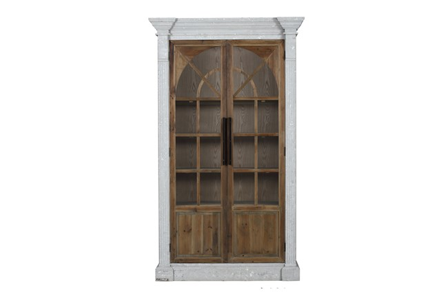 Reclaimed Pine + White Wash Farmhouse Tall Cabinet  - 360