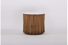 White Marble + Wood Round Accent Table