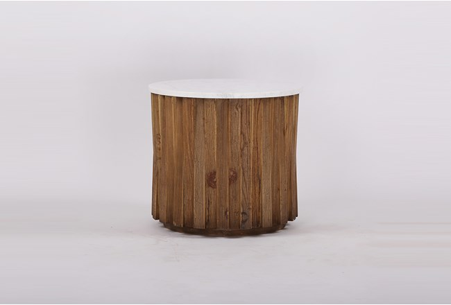White Marble + Wood Round Accent Table  - 360