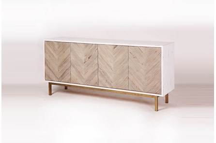 Weathered + Antique White Chevron Sideboard