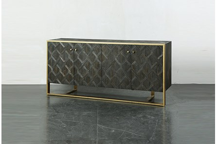 Dark Pine Textured 4 Door Sideboard