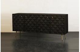 Dark Brown 4 Door Sideboard With Brass Legs