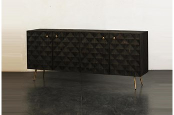 Dark Brown 4 Door Sideboard With Brass Legs