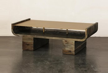 Brass Curved Top + Pine Coffee Table