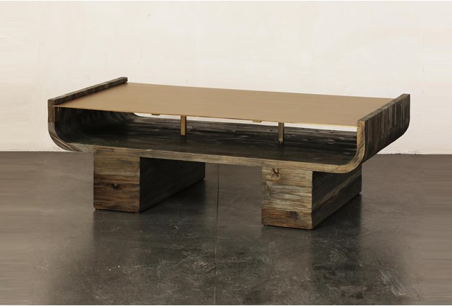 Brass Curved Top + Pine Coffee Table  - 360