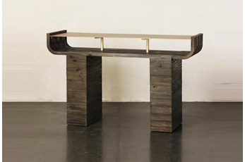 Brass Curved Top + Pine Sofa Table