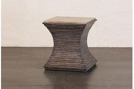 Ribbed Dark Pine Accent Table